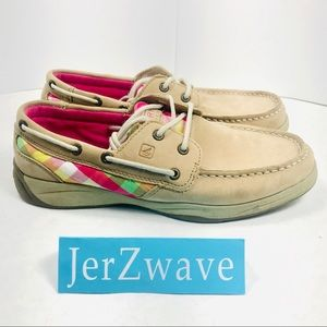 Sperry TopSider Intrepid Pink Plaid/Tan Girl's 4.5